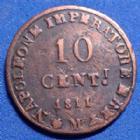 Photo numismatique  Monnaies Monnaies Françaises 1er Empire 10 Centesimi Milan NAPOLEON Ie, Milan, Milano, 10 centesimi 1811 M, KM.4 TTB