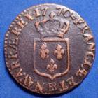 Photo numismatique  Monnaies Monnaies Royales Louis XV 1/2 Sol à la vieille tête, demi sol LOUIS XV, 1/2 Sol à la vieille tête 1770 BB Strasbourg, 5,42 grms, Gad.275 traces de vernis?? TB+