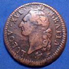 Photo numismatique  Monnaies Monnaies Royales Louis XVI Sol à l'Ecu LOUIS XVI, Sol à l'Ecu 1784 R Orléans, flan de 31 mm !!, 10,41 grms, Gad.350 traces de vernis??, TB à TTB