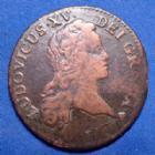 Photo numismatique  Monnaies Monnaies Royales Louis XV 1/2 Sol au buste enfantin LOUIS XV, 1/2 Sol au buste enfantin 1719 BB Strasbourg, 5,60 grms, Gad.273 TB+