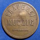 Photo numismatique  Monnaies Monnaies/medailles d'Alsace Mutzig Jeton de 20 pfennig MUTZIG, Brauerei 20 (pfennig); jeton en laiton de 23 mm, contremarque? Au centre, Marchand 15.2 TTB