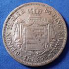 Photo numismatique  Monnaies Allemagne avant 1871 Allemagne, Deutschland, Sachsen, Saxe 6 Einen Thaler, 1/6 taler SACHSEN, SAXE, Johan V, 6 einen thaler 1856 F, 1/6 Taler, J.100 TB à TTB