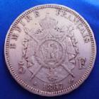 Photo numismatique  Monnaies Monnaies Françaises Second Empire 5 Francs NAPOLEON III, 5 francs 1867 BB Strasbourg, Gad.739 TB à TTB