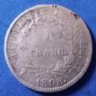 Photo numismatique  Monnaies Monnaies Françaises 1er Empire 1 Franc NAPOLEON Ie, 1 franc 1808 BB Strasbourg, Revers République, Gad.446 TB+