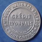 Photo numismatique  Monnaies Monnaies de nécéssité Timbre Monnaie 10 centimes Credit Lyonnais TIMBRE MONNAIE, 10 centimes, CREDIT LYONNAIS, emprunt National 6% 1920.Souscrivez, sans fond sous le timbre, aluminium, 32,5mm, TTB à SUP