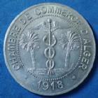 Photo numismatique  Monnaies Anciennes colonies Françaises Algerie, Algeria 10 Centimes Alger ALGER, 10 centimes 1918, Chambre de commerce d'Alger, aluminium 30mm, Lec.135 SUP+