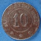 Photo numismatique  Monnaies Monnaies de nécéssité Alsace, Moselle 10 pfennig Alsace, Moselle Alsace, Moselle, Elsass, 10 pfennig Windschild & Langelott, lothringen, fer 20mm, Marchand 10.1 TTB