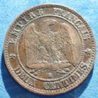 Photo numismatique  Monnaies Monnaies Françaises Second Empire 2 Centimes NAPOLEON III, 2 centimes 1856 BB Strasbourg, Gad.103 quelques traces sinon TTB