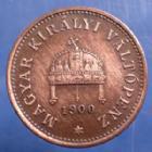 Photo numismatique  Monnaies Monnaies étrangères Hungary, Hongrie, Hungarn 1 Filler Ungarn, Hongrie, Hungary, 1 Filler 1900 KB Franz Joseph, traces de nettoyage sinon P.SUP