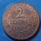 Photo numismatique  Monnaies Monnaies Françaises Troisième République 2 Centimes 2 centimes Daniel Dupuis 1904, Gad.107 SUP