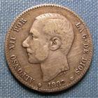 Photo numismatique  Monnaies Monnaies étrangères Espagne Pesetas Espagne, ALFONSO XII, Pesetas 1882 KM.686 TB+