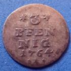 Photo numismatique  Monnaies Allemagne avant 1871 Allemagne, Deutschland, Schwarzburg Sondershausen 3 pfennig Schwarzburg Sonsershausen, 3 pfennig 1764, Christian Gunther, Fischer 414, J.61, 0,77 grm, TB à TTB R!