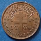 Photo numismatique  Monnaies Anciennes colonies Françaises Madagascar 50 centimes Madagascar MADAGASCAR, 50 centimes 1943, LEC.93 P.SUP