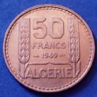 Photo numismatique  Monnaies Anciennes colonies Françaises Algerie, Algeria 50 francs Algérie Algérie, 50 francs Turin 1949, LEC.52 petites tâches sinon SUP à SPL