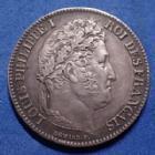 Photo numismatique  Monnaies Monnaies Françaises Louis Philippe 1 Franc LOUIS PHILIPPE Ie, 1 franc 1837 B Rouen, Gad.453 SUP Belle patine médailler!