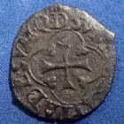 Photo numismatique  Monnaies Monnaies Royales Henri IV Vaquette du Béarn HENRI IV, 1589-1610, vaquette du Béarn 2e type, Morlaas, 0,53 grm, DY.1271 TB+ Rare!!