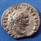 Photo numismatique  Monnaies Empire Romain Vespasianus, Vespasien Denarius, Denier, Denar, Denario VESPASIANUS, VESPASIEN, denier Rome en 75, PON MAX TR P COS II, 15mm, 3,07 GRMS? Ric;772 ttb=