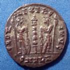 Photo numismatique  Monnaies Empire Romain Delmatius, Delmace Follis ou Nummus DELMATIUS, DELMACE, follis ou nummus, Alexandrie en 333-335, Gloria Exercitus, 16mm, 1,58 grms, RIC 69 R4!! Q.SUP/SUP