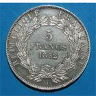 Photo numismatique  Monnaies Monnaies Françaises Deuxième République 5 Francs LOUIS NAPOLEON BONAPARTE 5 francs 1852 A Paris G.726 SUP+