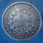 Photo numismatique  Monnaies Monnaies Françaises Troisième République 5 Francs 5 Francs Hercule 1875 A Paris, 3e République, Gad.745a Bon TTB Patine!