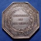 Photo numismatique  Monnaies Jetons Commerce du bois Jeton octogonal en argent Commerce du bois, jeton octogonal en argent poinçon main, Commerce de bois flotté, signé Droz, 33mm, P.SUP