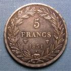 Photo numismatique  Monnaies Monnaies Fran�aises Louis Philippe 5 Francs LOUIS PHILIPPE Ier, 1831 W Lille, 5 francs t�te nue, tranche en relief, Gadoury 676 a TTB+