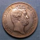 Photo numismatique  Monnaies Monnaies Françaises Louis Philippe 5 Francs LOUIS PHILIPPE Ier, 1830 A, 5 Francs tête nue, tranche en creux, Gadoury 676 TTB+