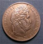 Photo numismatique  Monnaies Monnaies Françaises Louis Philippe 5 Francs LOUIS PHILIPPE Ier, 1832 H La Rochelle, 5 francs, Gadoury 678 TTB à SUPERBE petit manque de métal au revers à 20 h
