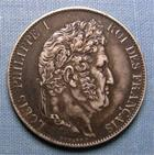 Photo numismatique  Monnaies Monnaies Françaises Louis Philippe 5 Francs LOUIS PHILIPPE Ier, 1846 BB Strasbourg, 5 francs, Gadoury 678a TTB à SUPERBE patine noire de médailler !!