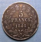 Photo numismatique  Monnaies Monnaies Fran�aises Louis Philippe 5 Francs LOUIS PHILIPPE Ier, 1846 BB Strasbourg, 5 francs, Gadoury 678a TTB � SUPERBE patine noire de m�dailler !!