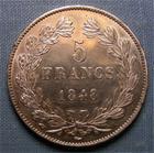 Photo numismatique  Monnaies Monnaies Fran�aises Louis Philippe 5 Francs LOUIS PHILIPPE Ier, 1848 A, 5 francs, Gadoury 678 a SUPERBE monnaie lustr�e!