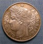 Photo numismatique  Monnaies Monnaies Françaises Troisième République 1 Franc IIIème République, 1 francs 1887 A Paris, type Cérès, Gadoury 465a SUPERBE +