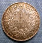 Photo numismatique  Monnaies Monnaies Fran�aises Troisi�me R�publique 1 Franc III�me R�publique, 1 francs 1887 A Paris, type C�r�s, Gadoury 465a SUPERBE +