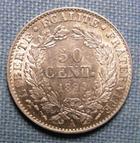 Photo numismatique  Monnaies Monnaies Françaises Troisième République 50 Centimes IIIème République, 50 centimes 1894 A Paris, type Cérès, Gadoury 419a SUPERBE à FDC