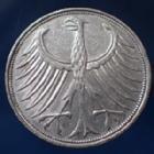 Photo numismatique  Monnaies Allemagne après 1871 Allemagne, Deutschland, BRD 5 Mark BRD 5 Mark 1966 F, BRD, argent 625°/°°° 7 grms fin, J.387 TTB