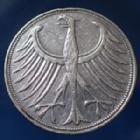 Photo numismatique  Monnaies Allemagne après 1871 Allemagne, Deutschland, BRD 5 Mark BRD 5 Mark 1951 F, BRD, argent 625°/°°° 7 grms fin, J.387 TB à TTB