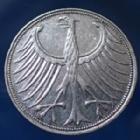 Photo numismatique  Monnaies Allemagne après 1871 Allemagne, Deutschland, BRD 5 Mark BRD 5 Mark 1951 F, BRD kurzmunze, argent 625°/°°° 7 grms fin, J.387 TTB