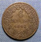Photo numismatique  Monnaies Allemagne avant 1871 Allemagne, Deutschland, Hesse Darmstadt 6 Kreuzer HESSE DARMSTADT, 6 kreuzer 1842, KM.306 TTB
