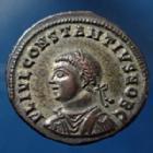 Photo numismatique  Monnaies Empire Romain Constantius II, Constance II Follis ou Nummus CONSTANTIUS II Caesar, CONSTANCE II César, nummus Alexandrie en 325 - 326, Providentiae Caess, 19mm, 3,83 grms, RIC.37,  SPL