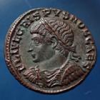 Photo numismatique  Monnaies Empire Romain CRISPUS, CRISPE, CRISPO Follis ou Nummus CRISPUS Caesar, César, nummus Antioch en 325 - 326, Providentaie Caess, 18mm, 3,42 grms, RIC.64 R2!  SPL