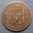 Photo numismatique  Monnaies Monnaies étrangères Espagne 2 Pesetas Espagne,(Spain) 1892, 2 Pesetas, Alphonso XIII, KM.692 TTB R!