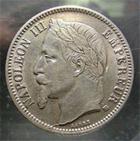 Photo numismatique  Monnaies Monnaies Françaises Second Empire 1 Franc NAPOLEON III, 1866 BB Strasbourg, 1 franc tête laurée, G.463 TTB+