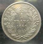 Photo numismatique  Monnaies Monnaies Françaises Second Empire 1 Franc NAPOLEON III 1860 A Paris, 1 franc tête nue, main, G.460 TTB