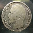 Photo numismatique  Monnaies Monnaies Françaises Deuxième République 1 Franc LOUIS NAPOLEON BONAPARTE, 1  franc 1852 A Paris, tête nue, G.458 B à TB