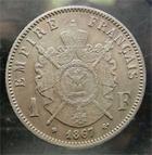 Photo numismatique  Monnaies Monnaies Françaises Second Empire 1 Franc NAPOLEON III 1867 BB Strasbourg, 1 franc tête laurée, G.462 TTB