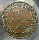 Photo numismatique  Monnaies Monnaies Françaises Second Empire Monnaie de visite module du 5 centimes NAPOLEON III 1853, Visite à la bourse de Lille, module du 5 centimes, TTB