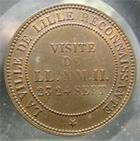 Photo numismatique  Monnaies Monnaies Françaises Second Empire Monnaie de visite module du 10 centimes NAPOLEON III 1853, monnaie de visite, la ville de Lille reconnaissante, module du 10 centimes,TTB à  SUPERBE