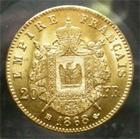 Photo numismatique  Monnaies Monnaies Françaises Second Empire 20 Francs or NAPOLEON III, 20 francs or 1868 BB Strasbourg, Gadoury 1062 TTB+