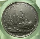 Photo numismatique  Monnaies M�dailles Louis XIV M�daille M�daille en �tain LOUIS XIV, 1696, Graveur J.MAUGER.F, m�daille en �tain 40mm NAVAL, INCES AUT CAPT HOST NAV ONER XXX BELL III AD TEXELLAM, TTB