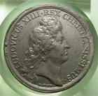 Photo numismatique  Monnaies M�dailles Louis XIV M�daille M�daille en �tain LOUIS XIV 1672, J.MAUGER.F, M�daille en �tain 40mm, TRANATUS RHENUS ( le Rhin)  TTB un peu voil�e!